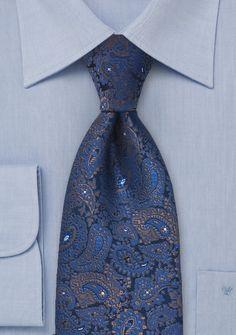 Krawatte Allovermuster Paisleys königsblau
