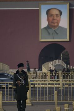 A guard near Mao's Portrait, Tienanmen