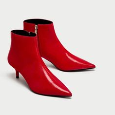 c46ad8d75f6 Red Zara Ankle Boots Mid Heel Ankle Boots