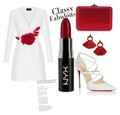 """😍"" by qanaa ❤ liked on Polyvore featuring Rasario, Christian Louboutin and NYX"