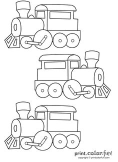 three trains print color fun free printables coloring pages crafts