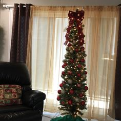 Our Christmas tree (skinny yet styling with red, gold and sage colored Christmas balls).