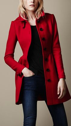 Red Wool Twill Dress Coat | Burberry