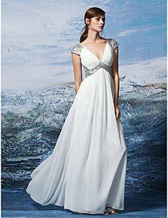 Formal Evening Dress Sheath / Column V-neck Floor-length Sequined / Georgette with Criss Cross / Sequins