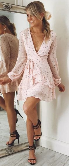#fall #outfits Blush Polka Dot Dress + Black Sandals