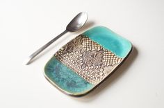 Spoon Rest Ceramic Spoon Holder Coin Holder Key Holder by bemika