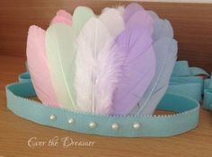 Pastel Pocahontas rainbow pastel feather crown halo headband dance ballet prop princess birthday party accessory fairytale costume
