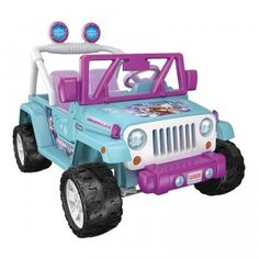 The Power Wheels Disney Frozen Jeep Wrangler from Fisher-Price is a battery-operated two-seat kid vehicle featuring Frozen graphics, colors, and songs.