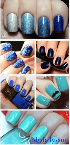 Loving this blue nail polish idea