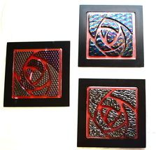 Arts and Crafts Flower Iridized Fused Glass Tiles