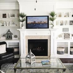 Looking for a neutral way to decorate your built-ins? Cover your books in white paper like at our Enclave property for a chic, beachy look. Dream Decor, Built Ins, House Plans, New Homes, Sweet Home, Real Estate, White Paper, Living Room