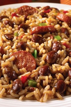 Uptown Red Beans and Rice with Turkey Sausage- Bust out of a leftover rut with Zatarain's recipe for Uptown Red Beans & Rice. It's a traditional New Orleans Monday night meal kept simple by adding leftover ham, turkey, or roast. Cajun Recipes, Bean Recipes, Rice Recipes, Mexican Food Recipes, Dinner Recipes, Cooking Recipes, Healthy Recipes, Cajun Food, Roast Recipes