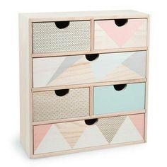 Paint geometric designs on dresser drawers for kids!