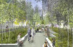 Design for 2013 Student Urban Design Competition transforming a barren parking lot.