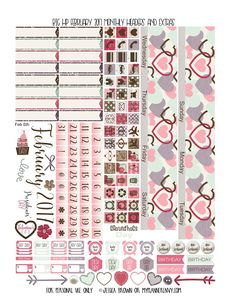Free Printable February 2017 Monthly Headers and Extras for the Original Stay Golden Big Happy Planner from myplannerenvy.com