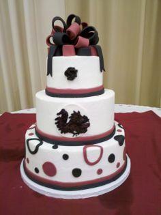 USC Gamecock wedding cake or groom cake or graduation cake or birthday cake. Garnet and black. University of South Carolina.