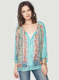 Stylist: Gorgeous blouse. I adore the colors, pattern and length. Thai Blouse