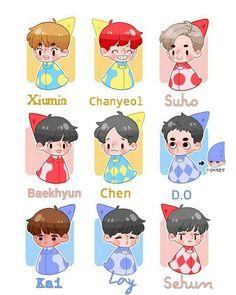 #The Exo'rDium xoxo chibi Kpop Drawings, Cute Drawings, Kawaii Chibi, Kawaii Anime, Exo Cartoon, Exo Stickers, Exo Anime, Cocktail Illustration, Exo Fan Art