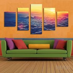 Clouds Painting - 5 Piece Canvas-Canvas-TEEPEAT