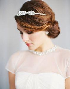 simple bun with bling crown elegant wedding hair ideas