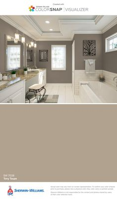 I found this color with ColorSnap® Visualizer for iPhone by Sherwin-Williams: Tony Taupe (SW 7038).