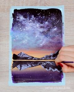 In this video I'll show you how to paint a galaxy sky sunset & lake scenery with acrylic paint step by step! You will learn how to paint a galaxy, mountains and how to blend acrylic paint! videos, How to Paint a Galaxy Sky Scenery with Acrylic Paint Galaxy Painting Acrylic, Simple Acrylic Paintings, Acrylic Painting Techniques, Sky Painting, Painting Videos, Painting Steps, Mountain Paintings, Step By Step Painting, Diy Canvas Art
