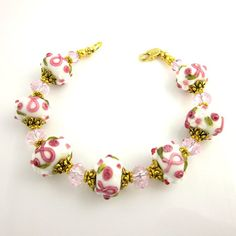 Breast Cancer Awareness Beaded Bracelet, Pink Ribbon Beadwork Bracelet, Breast Cancer Lampwork Bracelet, Gifts for Her