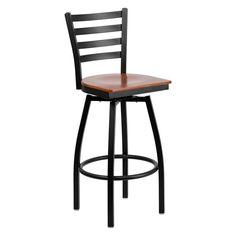 Have to have it. Flash Furniture 32 in. Hercules Ladder Back Swivel Wood Seat Bar Stool - Black - $66.99 @hayneedle