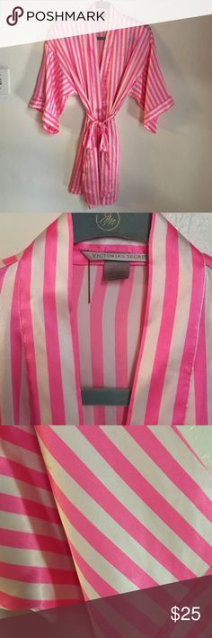 Victoria's Secret pink kimono stripe satin robe Gently worn. Victoria's Secret Intimates & Sleepwear Robes