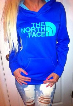 The North Face BLUE pullover sweatshirt hoodie Jacket soft fleece inside XS/TP #TheNorthFace #Hoodie