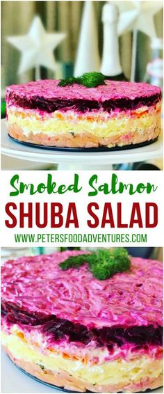 This is my favorite way to eat Shuba Salad with Salmon (Шуба с лососем), a classic Russian salad (also called Herring Under a Fur Coat). Served at celebrations and special events like New Years, Christmas, and even weddings. A Russian potato salad with beets, carrots, eggs, potatoes, dill and smoked salmon!