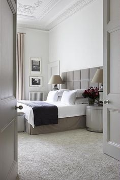 """Opt for Carpet - """"For anything but a beach house — where wood floors are fine — you should have wall-to-wall carpeting in the bedroom,"""" says Harry Heissmann of Albert Hadley Inc. This London bedroom showcases how luxe the look can be. Master Bedroom Design, Home Decor Bedroom, Modern Bedroom, Bedroom Ideas, Bedroom Designs, Headboard Ideas, Bedroom Retreat, Gray Bedroom, Trendy Bedroom"""
