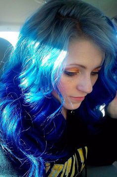 The Blues #hair #dyed #blue #gradient #long #wavy