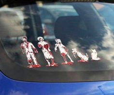 Zombie Family Car Decals  Show off your family pride with some humor with the zombie family car decals. Every member of the family from mom and dad to the family goldfish are represented in a gruesome style that depicts them as brain hungering zombies!  $5.99  Check It Out  Awesome Sht You Can Buy