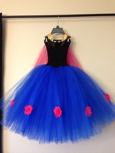 Princess Anna inspired dress with cape and hair piece size nb to 9years