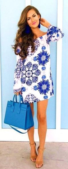 #feminine #style #summer #outfitideas Blue and White off The Shoulder Dress  - more on http://ift.tt/2rynWxj
