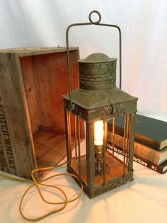 Vintage Nautical Brass Lantern Lamp by ModernArtifactDecor on Etsy, $225.00