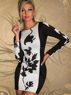 White Sexy Crewneck Long Sleeves Leaf Pattern Womens Club Dress