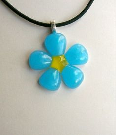 Fused Glass Flower Pendant in blue