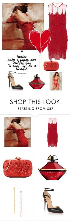 """Lady in Red"" by annastyles101 ❤ liked on Polyvore featuring Naeem Khan, Love Moschino, Guerlain, Lana Jewelry and Christian Louboutin"