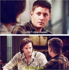 Dean looks so scared. He's the one who has been for years tried to keep a strong face for Sammy and everyone around him. The mark has screwed with him so much and has warped his mind that he can't even fake that everything's okay. And Sam has learned well from his big brother that even after everything from being in the pit to the trials, they will fix this. They always do. This brother bond is why I keep coming back week after week, season after season.