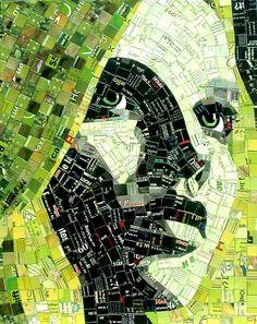 Retratos incríveis feitos com mosaicos de papel reciclado - Chiado Magazine