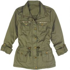 Shirt Jacket with Gold Detail (£23) ❤ liked on Polyvore featuring outerwear, jackets, tops, coats & jackets, military inspired jacket, military style jacket, lightweight jackets, green military jacket and green military style jacket