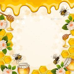 Buy Background with Bees and Honey by loradora on GraphicRiver. Beautiful Background with Bees,Honey, Flowers and Honeycomb Bee Template, Lemon Crafts, Bee Pictures, Bee Drawing, Bee Painting, Bee Images, Bee Party, Theme Background, Bee Crafts