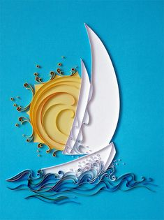 handmade card with quilled sailboat against sun and water ... by Natasha Molotkova on all things paper ... bright and beautiful ... blue, white and yellow ... stunning mod look ... like the solid colors behind quilled parts ...