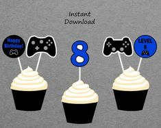 Etsy :: Your place to buy and sell all things handmade Boys 8th Birthday, 19th Birthday, Birthday Games, Happy Birthday Banners, Birthday Cupcakes, Printable Banner, Party Signs, Decoration, Cupcake Toppers