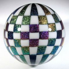 """Hot House Glass dichroic checkerboard marble 2.58"""" 65 mm #149"""
