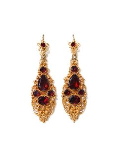 Almandine Garnet Earrings  1830s  The Three Graces