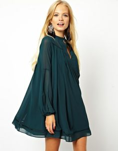 Swing Dress with Trim Detail - Lyst