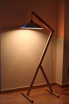 Floor Lamp. Reclaimed wood and metal. Red cord